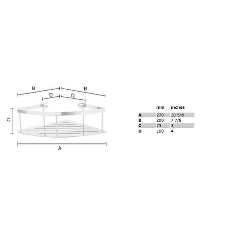 Smedbo Sideline hoek douchekorf 20x20cm met bodemplaat chroom