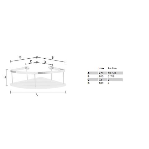 Smedbo Sideline hoek douchekorf 20x20cm met bodemplaat wit Solid Surface