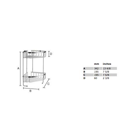 Smedbo Sideline hoek douchekorf dubbel 19,5x19,5 cm mat-chroom