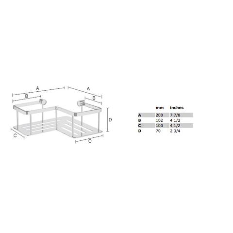 Smedbo Sideline hoek douchekorf haaks 20x20cm met bodemplaat chroom