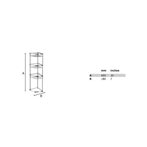 Smedbo Sideline hoek douchekorf vrijstaand 3-delig chroom