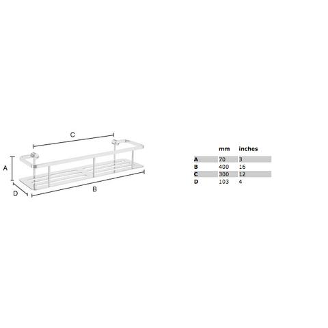 Smedbo Sideline zeephouder 40x10,3 cm met bodemplaat chroom
