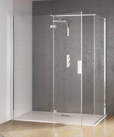 Kinedo Kinespace draaideur 180 x 200 cm. m/vast paneel links chroom-helder glas
