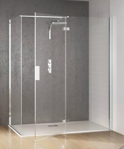 Kinedo Kinespace draaideur 140 x 200 cm. m/vast paneel rechts chroom-helder glas