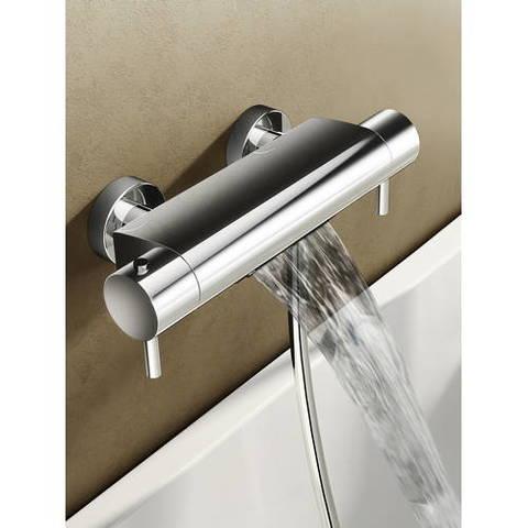 Hotbath Buddy/Laddy badthermostaat waterval met ronde handdouche, houder & slang chroom