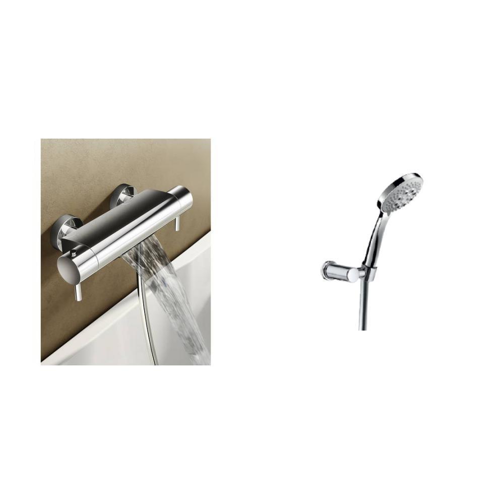 Hotbath Buddy/Laddy badthermostaat waterval met ronde handdouche, houder & slang geborsteld nikkel