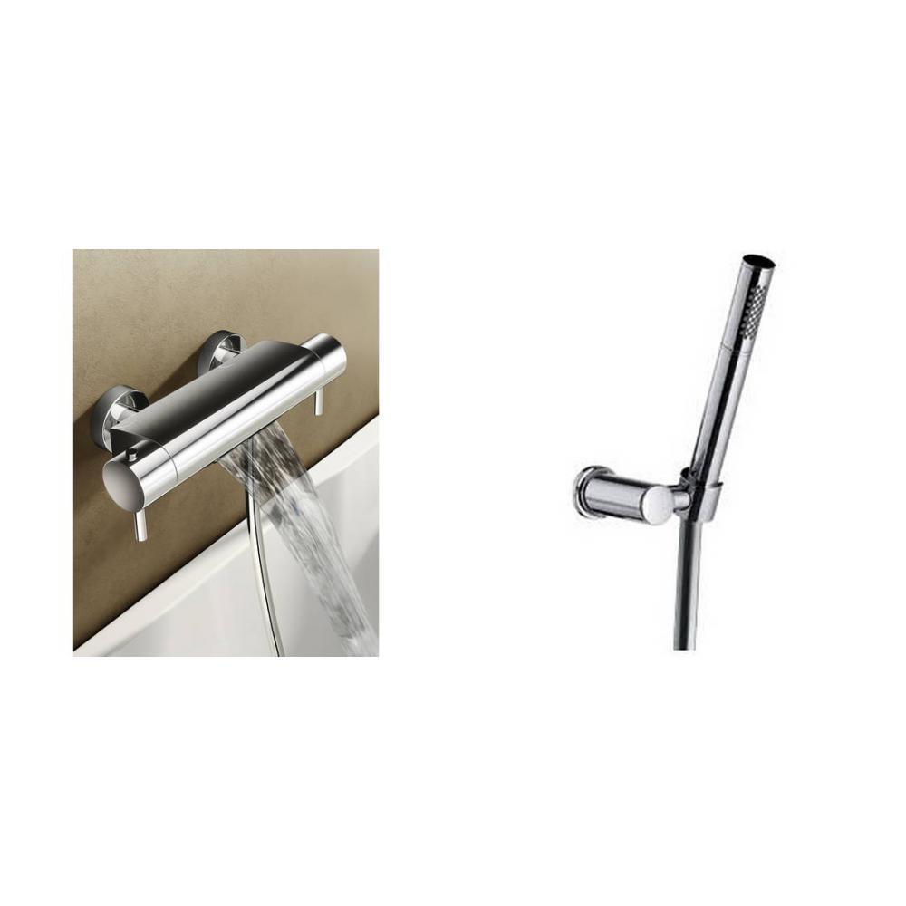 Hotbath Buddy/Laddy badthermostaat waterval met staafhanddouche, houder & slang geborsteld nikkel