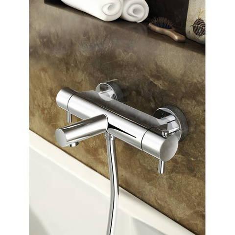 Hotbath Buddy/Laddy badthermostaat met ronde handdouche, houder & slang geborsteld nikkel