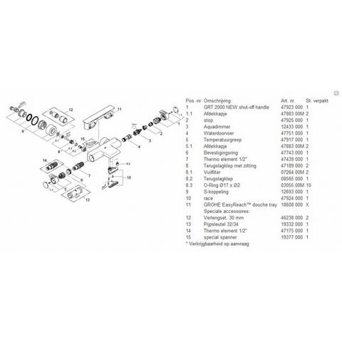 Grohe Grohtherm 2000 badthermostaat met Tray met staafhanddouche, houder & slang chroom