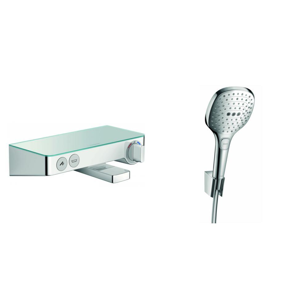 Hansgrohe ShowerTablet Select badthermostaat met ronde handdouche, houder & slang chroom