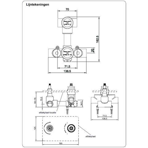 Wiesbaden Caral Inbouwset voor bad met badafvoer/vulcombinatie & badset chroom