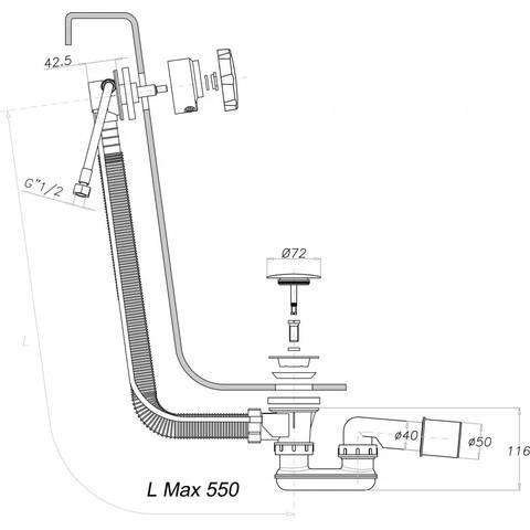 Hotbath Laddy Inbouwset vierkant voor bad met badafvoer/vulcombinatie & badset chroom
