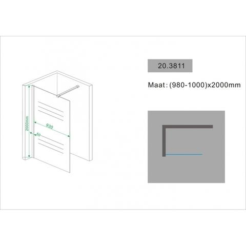 Wiesbaden Comfort inloopdouche 100cm met 40cm zijwand