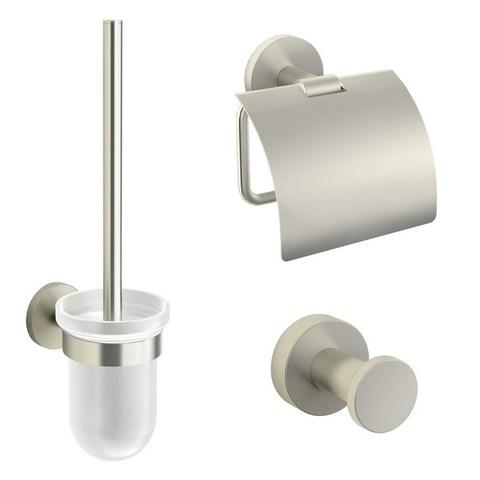 Blinq Columbus toilet accessoires set geborsteld nikkel