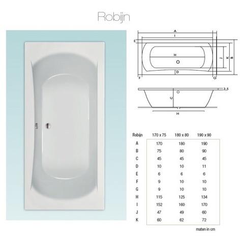 Xenz Robijn bad 180x80cm wit