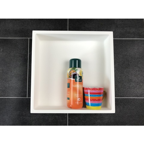 Luca Sanitair  nis in of opbouw 29,5x29,5x8cm solid surface mat wit