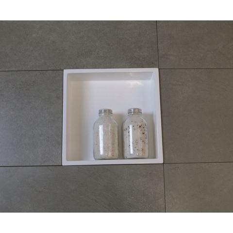 Luca Sanitair  nis in of opbouw 29,5x29,5x8cm stone resin wit glans