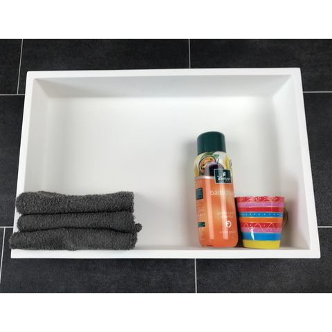 Luca Sanitair  nis in of opbouw 44,5x29,5x8cm solid surface mat wit