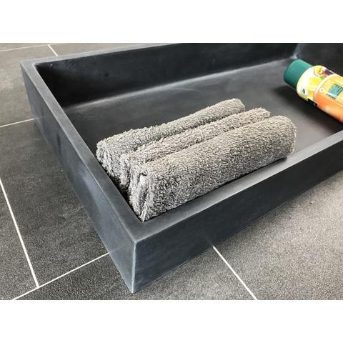 Luca Sanitair  nis in of opbouw 59,5x29,5x8cm stone resin antraciet mat