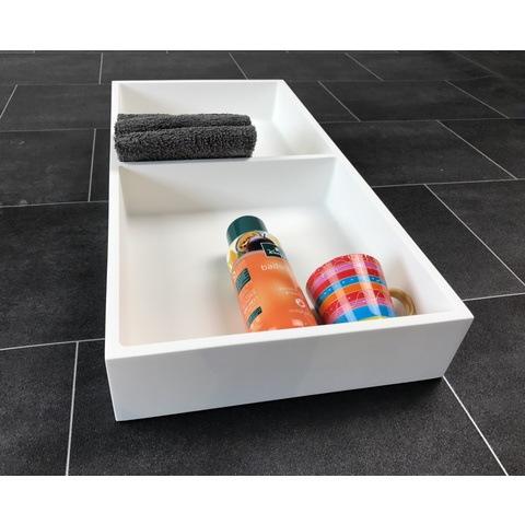 Luca Sanitair  nis in of opbouw 59,5x29,5x8cm met 2 schappen solid surface mat wit