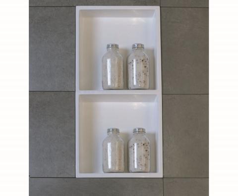 Luca Sanitair  nis in of opbouw 59,5x29,5x8cm met 2 schappen stone resin wit glans