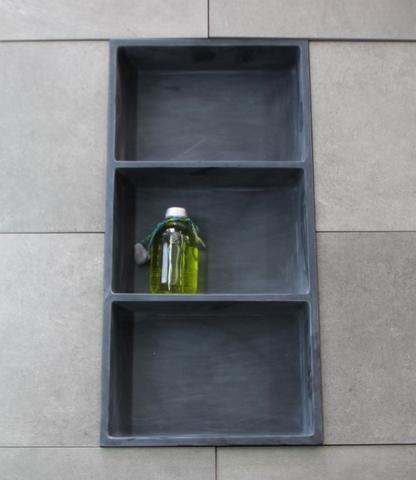 Luca Sanitair  nis in of opbouw 59,5x29,5x8cm met 3 schappen stone resin antraciet mat