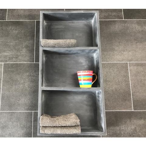 Luca inbouw/opbouw nis 29,5x59,5 cm mat antraciet met 3 schappen