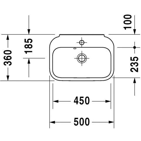 Duravit Happy d.2 fontein 50x36 cm. met kraangat en overloop wit