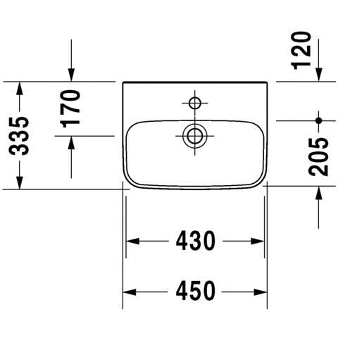 Duravit Durastyle fontein 45x33.5 cm. met kraangat zonder overloop wit
