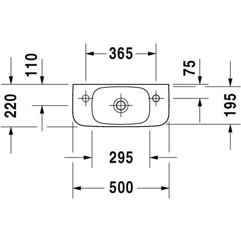 Duravit Durastyle fontein 50x22 cm. kraangat links wit