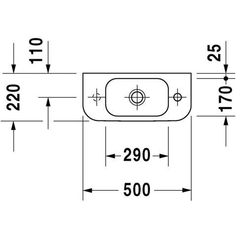 Duravit Happy D.2 fontein 50x22 cm - kraangat rechts - zonder overloop