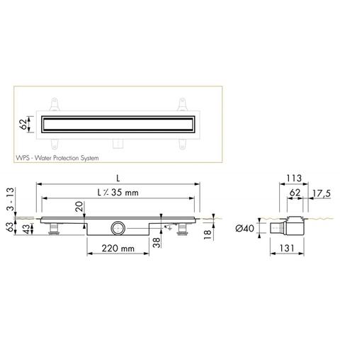 Easydrain Compact 50 TAF Low Zero douchegoot 80 cm. m1 waterslot 50 mm. rvs geborsteld