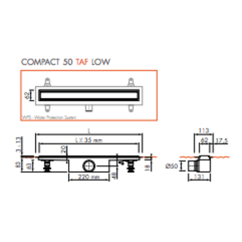 Easydrain Compact 50 TAF Low Zero douchegoot 90 cm. m1 waterslot 50 mm. rvs geborsteld