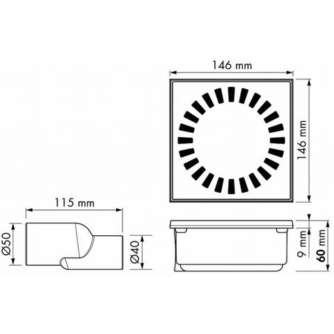 Easydrain Aqua compact vloerput abs 15 x 15 cm. waterslot 50 mm. rvs
