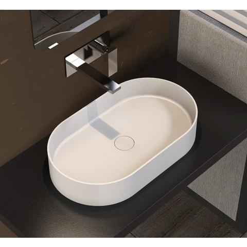 Ideavit Solidthin opzetwastafel 60x35cm ovaal mat wit