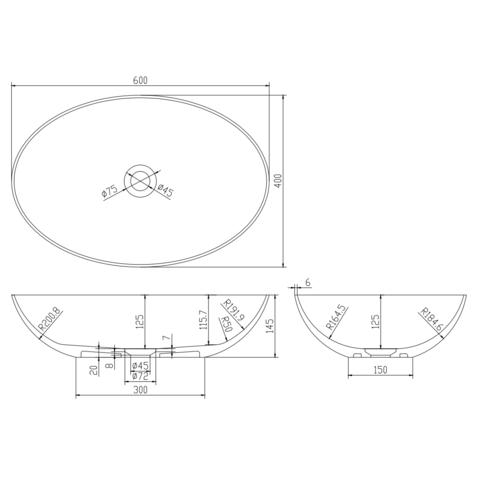Ideavit Solidthin-ov opzetwastafel 60x40cm mat wit