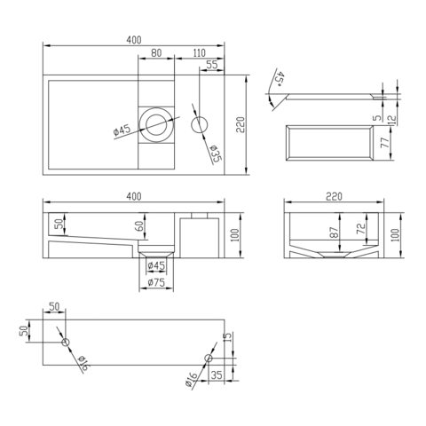 Ideavit Solidcube-40 fontein 40x22 cm mat wit met kraangat
