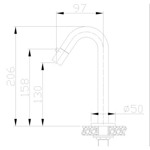 Wiesbaden Aludra fonteinkraan hoge gebogen uitloop chroom