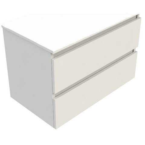 Blinq Tania wastafelonderkast 80x46 cm. 2x lade wit gelakt