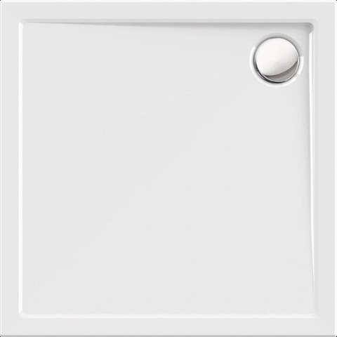 Blinq Albali douchebak 80 x 80 x 3.5 cm. met rand wit