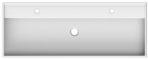 Blinq Rigel wastafel 120x46 cm. met 2x kraangat met overloop wit