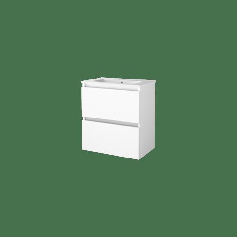 Basic Line 39 badmeubel ondiep 60x39cm - greeploos - porseleinen wastafel met 1 kraangat - Ice White