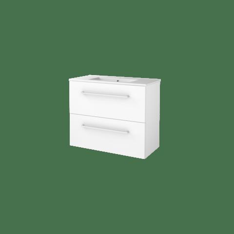 Basic Line 39 badmeubel ondiep 80x39cm - opbouwgrepen - porseleinen wastafel met 1 kraangat - Ice White