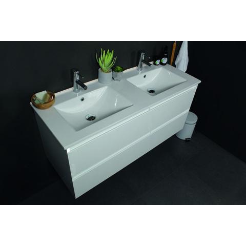 Basic Line 39 badmeubel ondiep 100x39cm - opbouwgrepen - porseleinen wastafel met 1 kraangat - Ice White