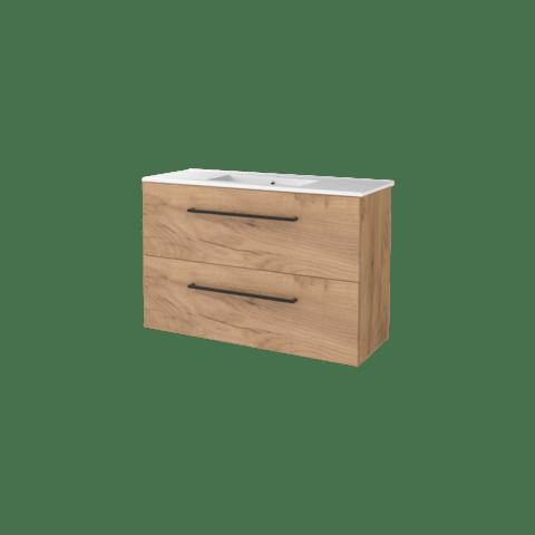 Basic Line 39 badmeubel ondiep 100x39cm - opbouwgrepen - porseleinen wastafel met 1 kraangat - Whisky Oak