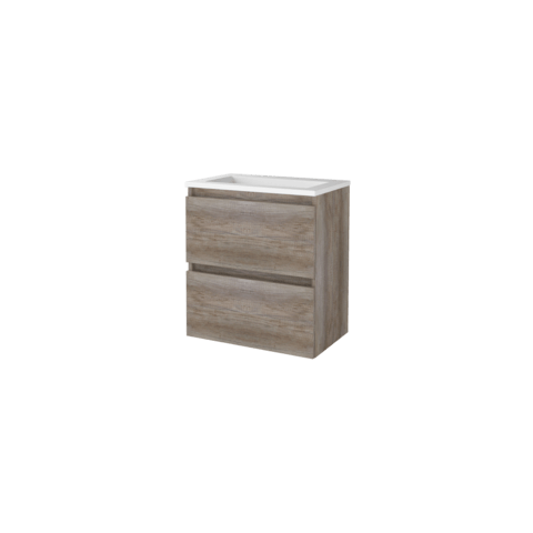 Basic Line 39 badmeubel ondiep 60x39cm - greeploos - acryl wastafel zonder kraangat - Scotch Oak