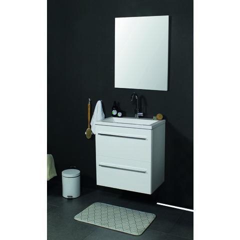 Basic Line 39 badmeubel ondiep 60x39cm - greeploos - acryl wastafel met 1 kraangat - Ice White