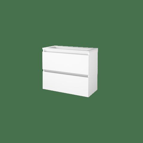 Basic Line 39 badmeubel ondiep 80x39cm - greeploos - acryl wastafel met 1 kraangat - Ice White