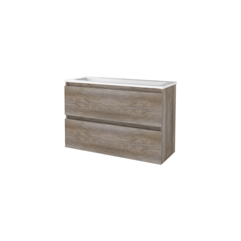 Basic Line 39 badmeubel ondiep 100x39cm - greeploos - acryl wastafel met 1 kraangat - Scotch Oak