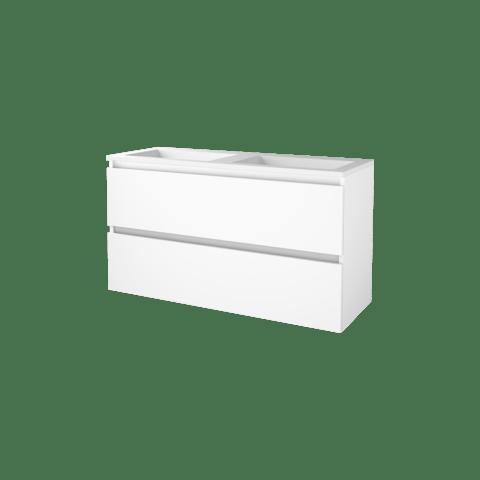 Basic Line 46 badmeubel 120x46cm - greeploos - 2 laden - acryl wastafel zonder kraangat - Ice White